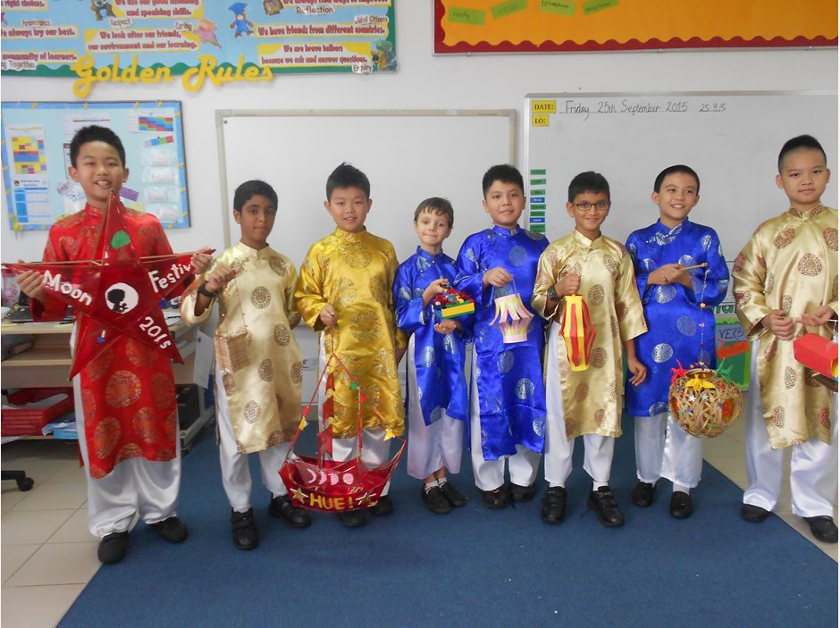 Boys holding lanterns to celebrate Moon Festival