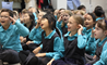Students from the British International School Shanghai, Puxi campus enjoy storytelling from Kate Corkery