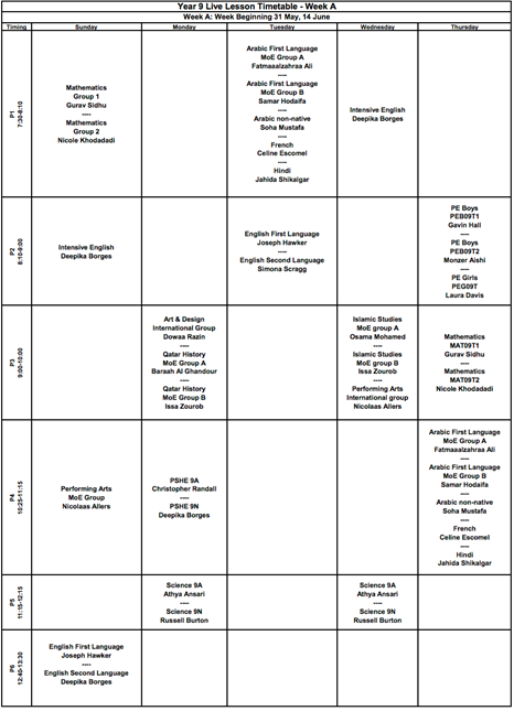 SS VSE Timetable