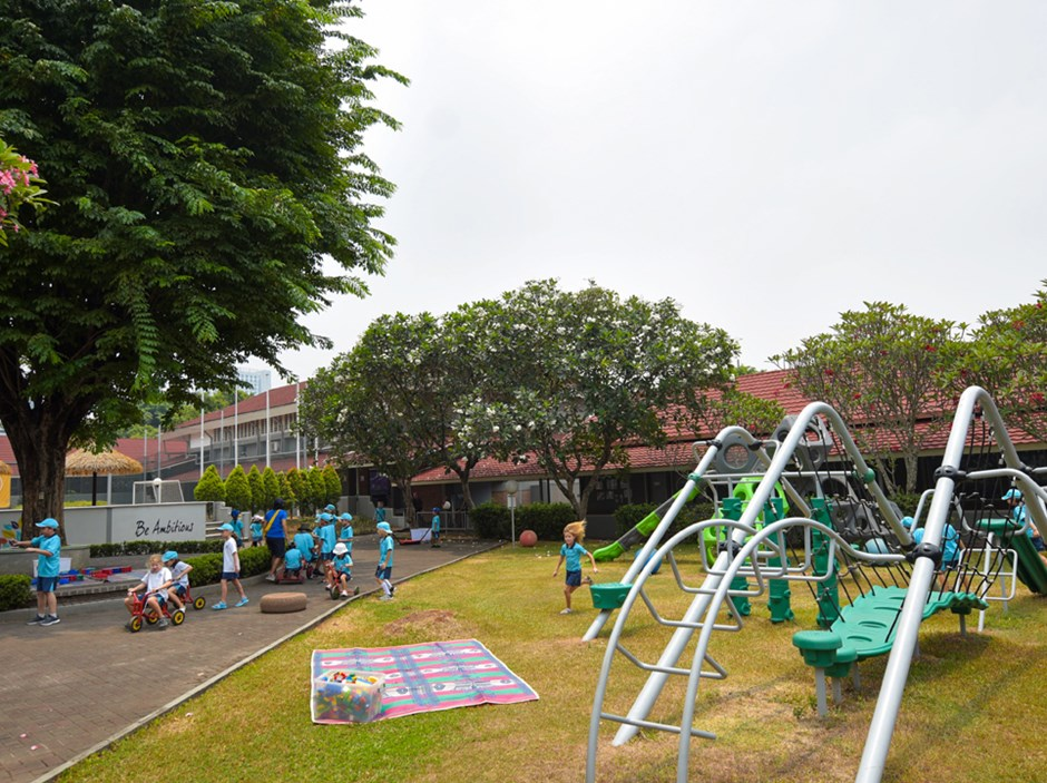 Our expansive green campus is perfect for young learners to engage and play in their daily school life. The tree-dotted grounds sit within a quiet residential area of South Jakarta, and are a calm and tranquil sanctuary encouraging outdoor learning activities. You will be struck by the look and feel of our school environment: a green oasis of learning where every child is nurtured to flourish. Our welcoming atmosphere and leafy green campus provide a haven for our truly international community in the heart of one of the world's busiest cities.