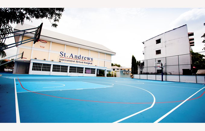 school blue bball court
