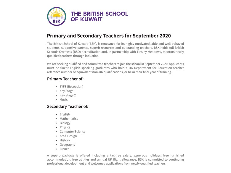 Primary and Secondary Teacher Vacancies for September 2020