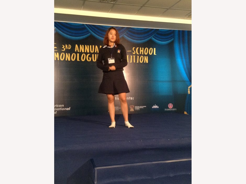 student performs at Monologue competition
