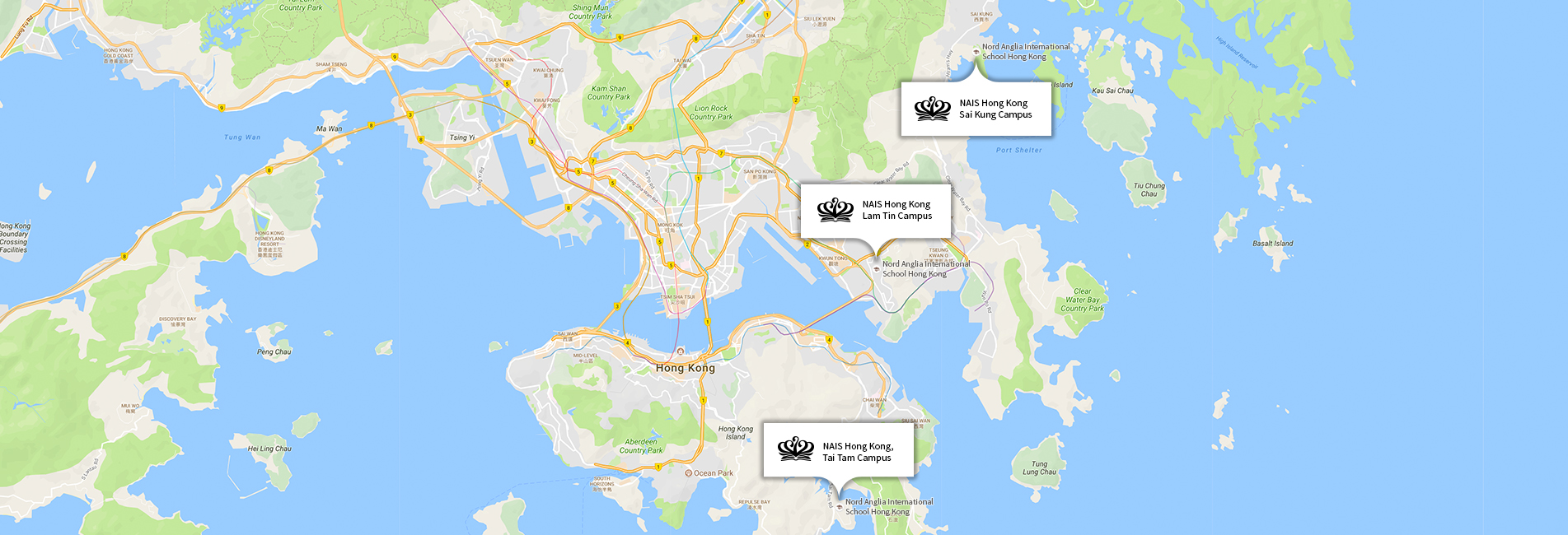 Nord Anglia International School Hong Kong, location map