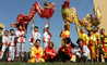 Students at the British International School Shanghai Puxi perform a traditional Dragon Dance to celebrate Chinese New Year