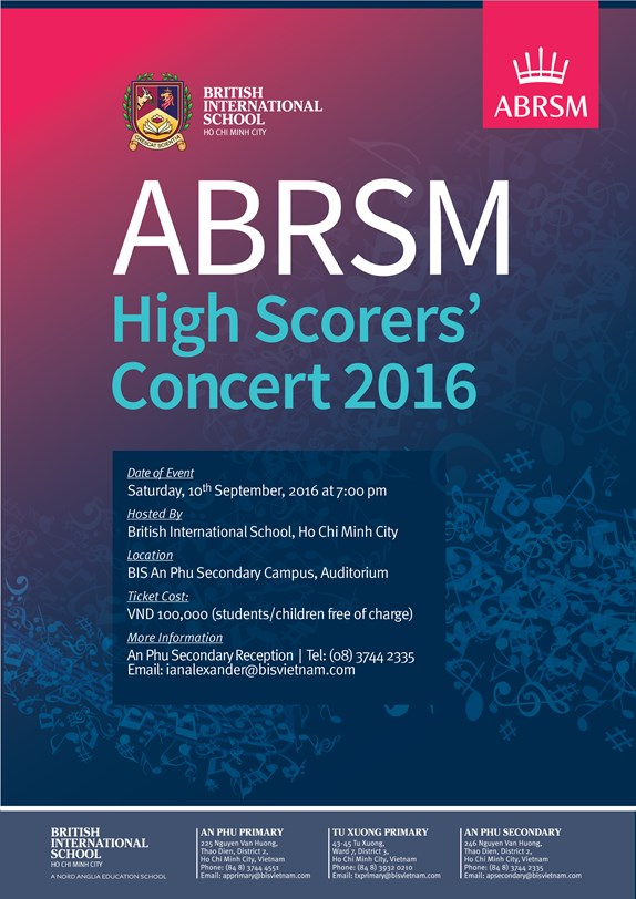 ABRSM High Scorers' Concert 2016 hosted by British International School, HCMC, Vietnam