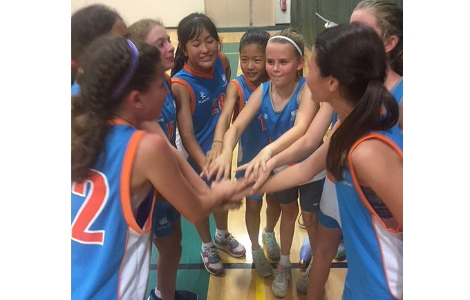 Under 12 Girls Basketball Team Celebrate