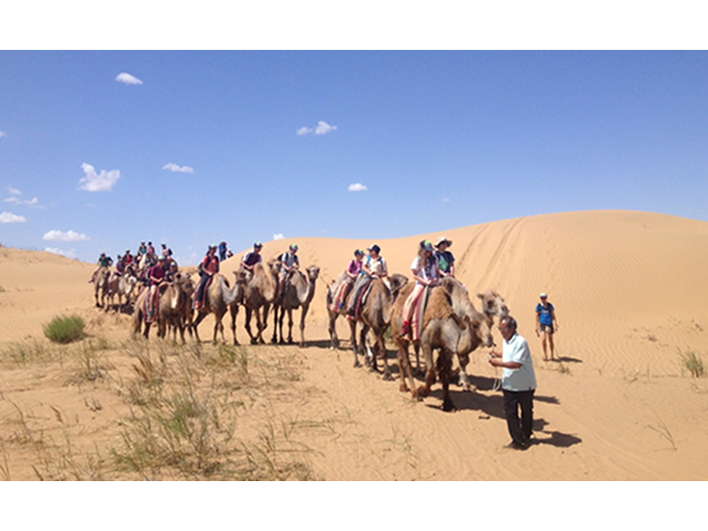 Year 8 camel riding in the Engebei desert