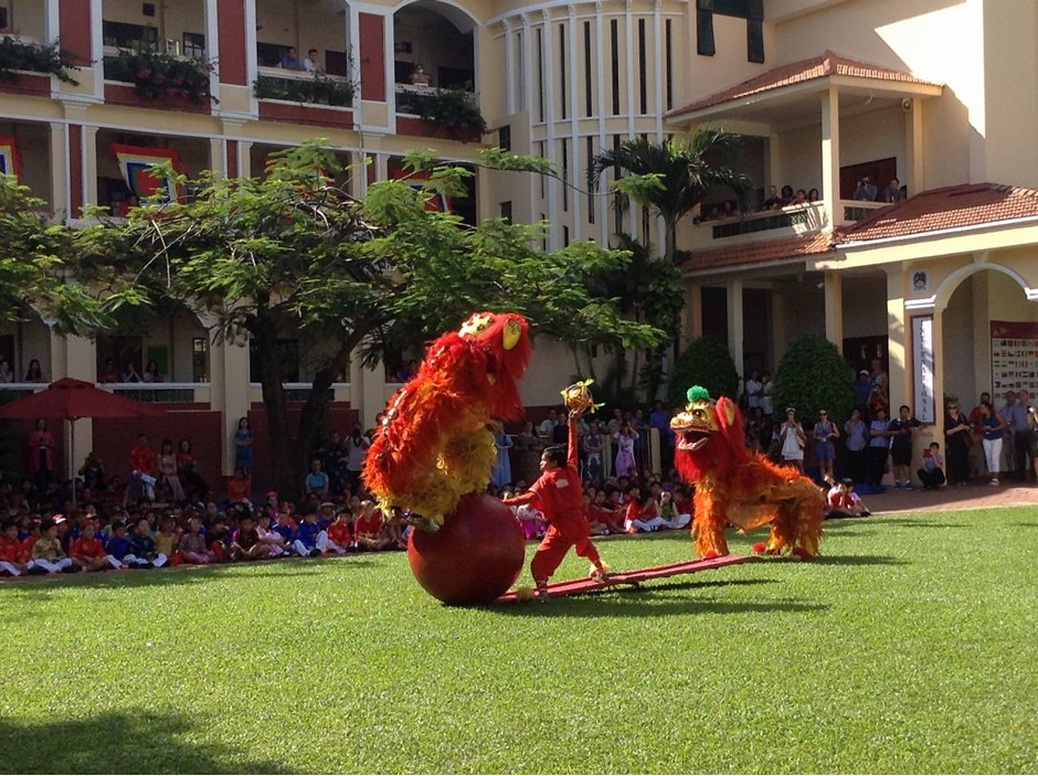 Dragon Dance performance at AP1 grass field