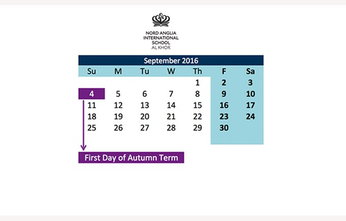 First Day of Autumn Term 16/17