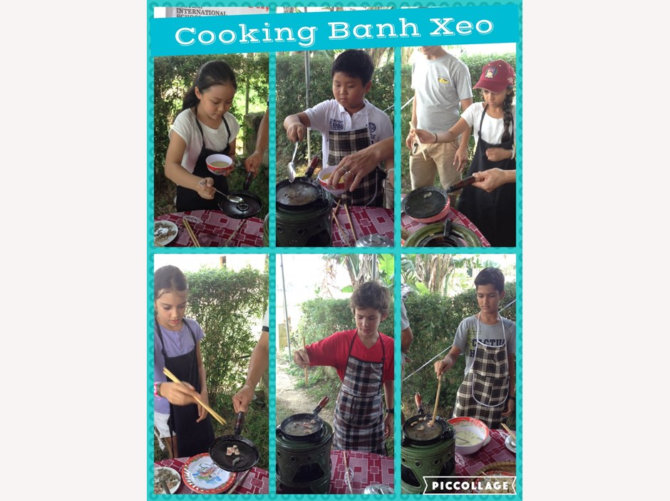 Six students learning how to cook Banh Xeo