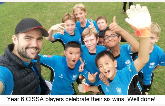 Year 6 CISSA players celebrate their six wins