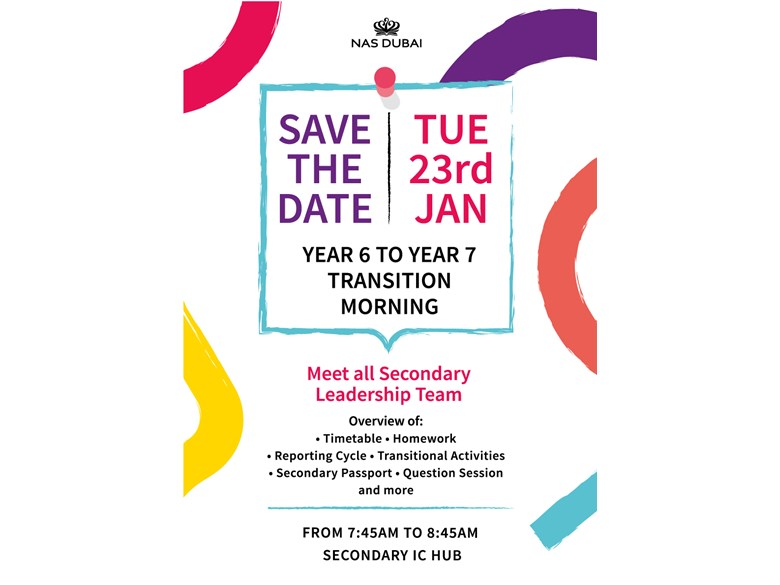 Save the Date: Yr 6 - Yr7 Transition Morning