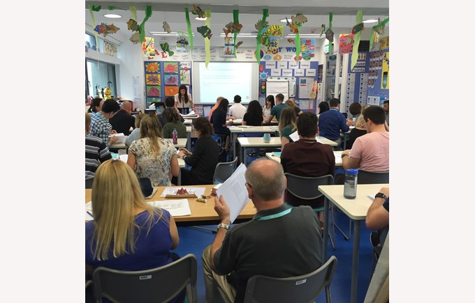 Staff listening and learning at our Staff Inset Day.