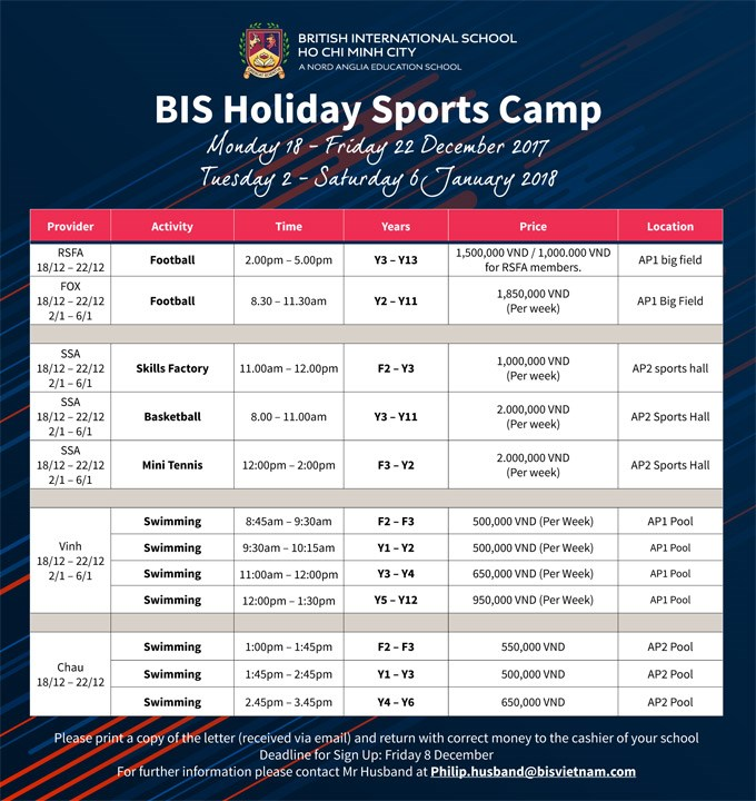 BIS Holiday Sports Camps