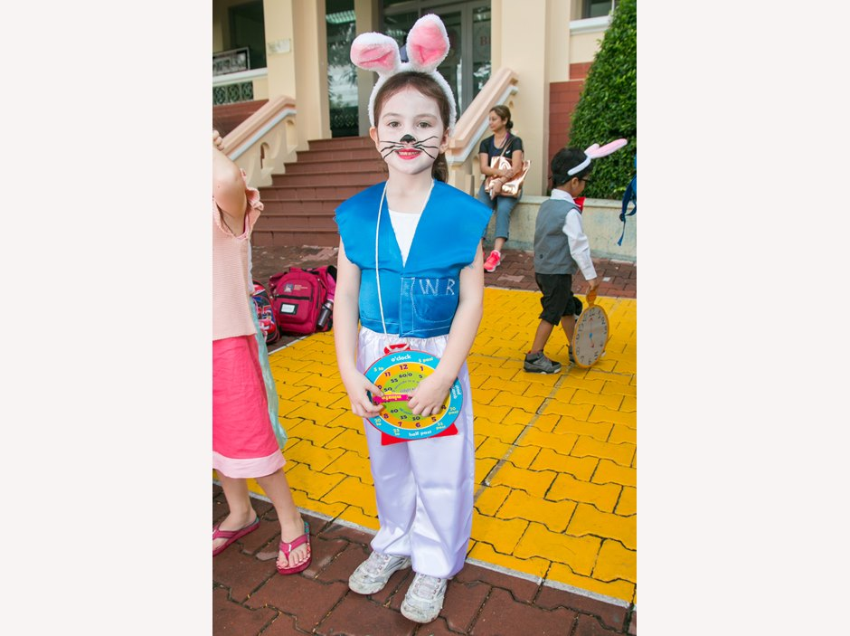 One kid dressed up as a rabbit in Alice in wonderland