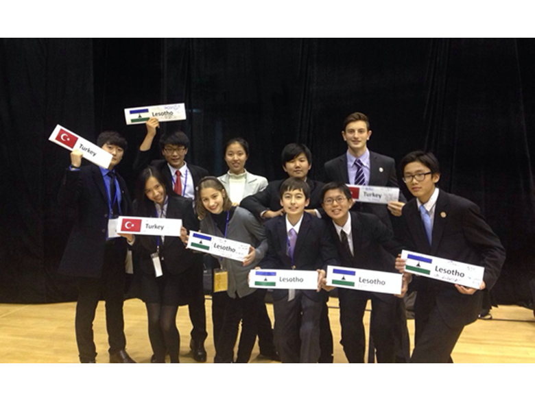 Students form the British School Shanghai representing Turkey and Lesotho at CISSMUN