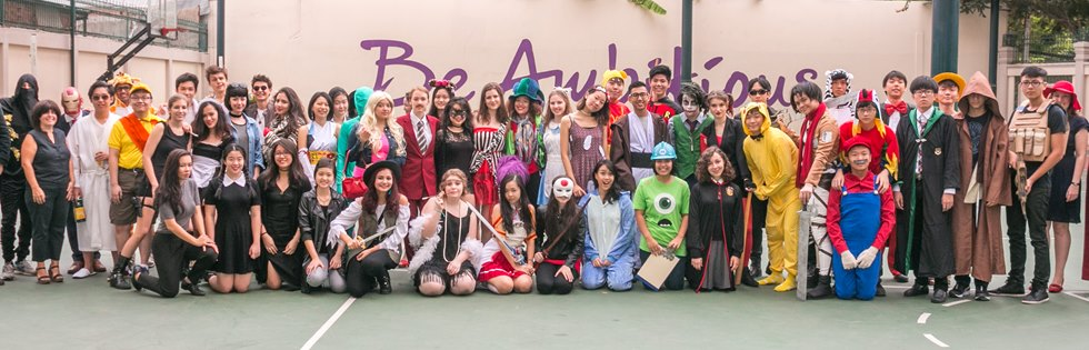 Year 13 all dressed in costume for last day at school