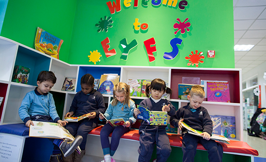 Students reading in the library