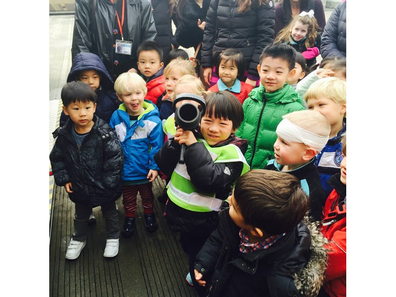 Nursery students at the British International School Shanghai, Puxi campus visit the local fire station.