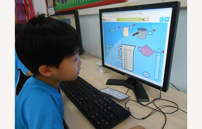Year 1 student studying capacity on the computer