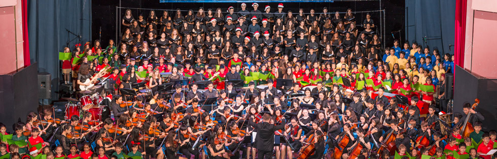 Whole School Winter Concert with over 300 students on stage