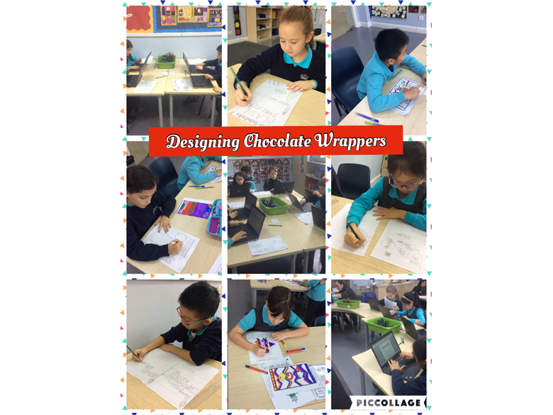Designing chocolate wrappers in Year 4