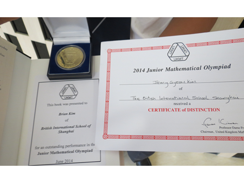 Junior Mathematical Olympiad gold medalist from the British International School Shanghai Puxi
