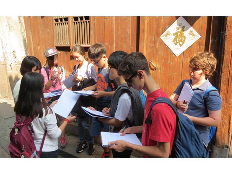 Students at the British International School Shanghai, Puxi on their Geography field trip