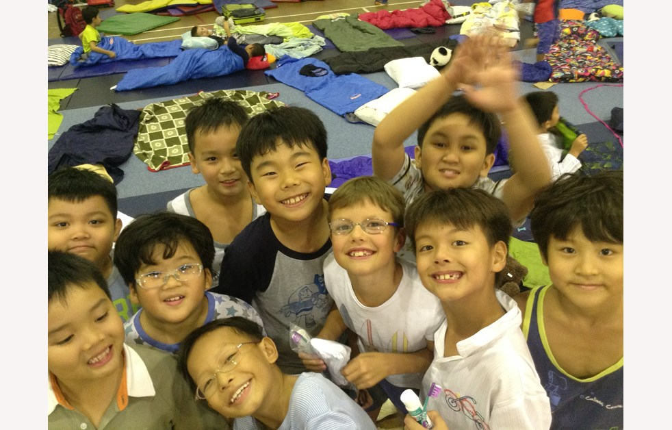 Group of boys at the AP1 sleepover Year 3