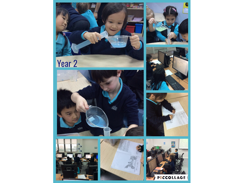 Year 2 demonstrating their measuring skills