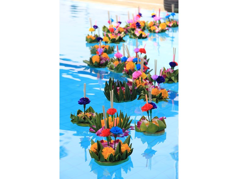 Loy Krathongs floating in water