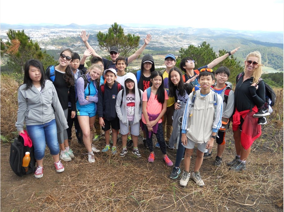 Group of students trekking in Dalat