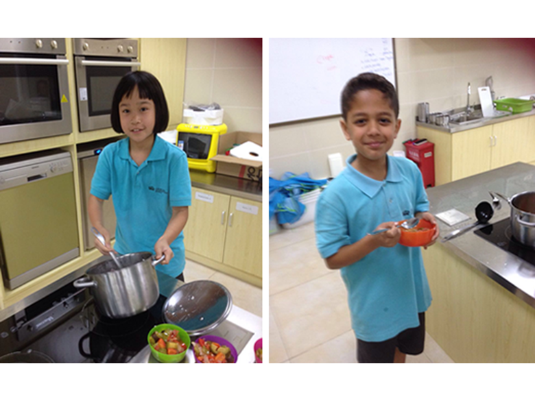 Primary students at the British International School Shanghai, Puxi use their language skills in the kitchen.