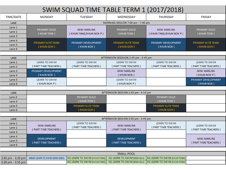 swim squad timetable