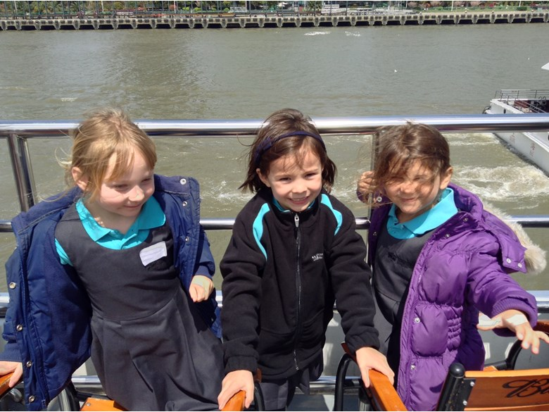 The Reception class at the British International School Shanghai, Puxi go on a boat trip on the river.