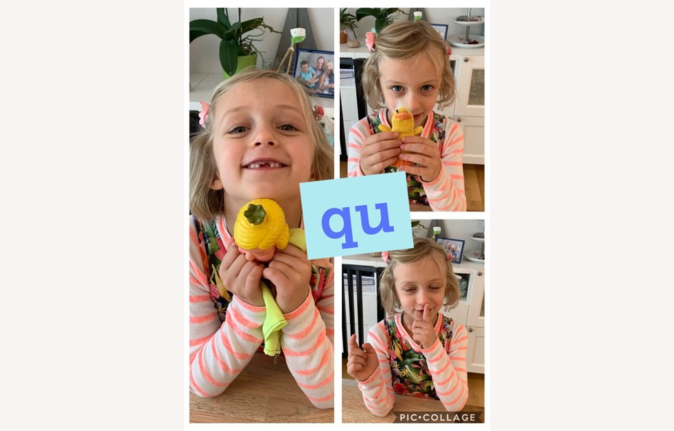 Emma found objects to practice the 'qu' sound in Phonics