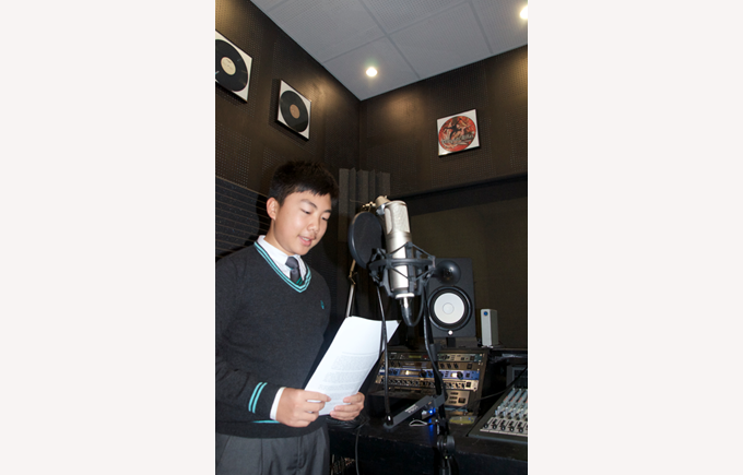 Eric Lin recording his maths podcast