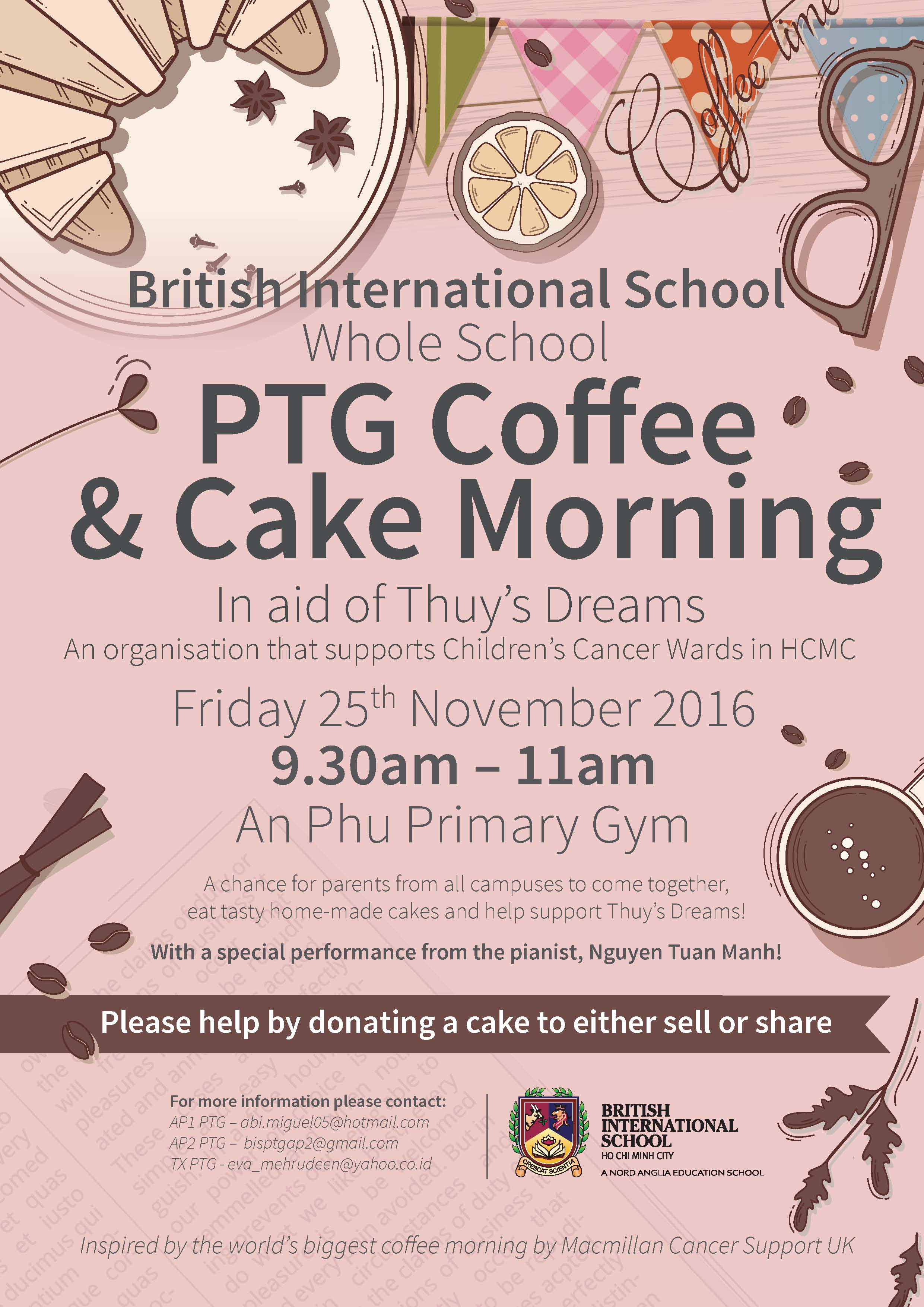 British International School PTG Coffee and Cake Morning (Whole School)