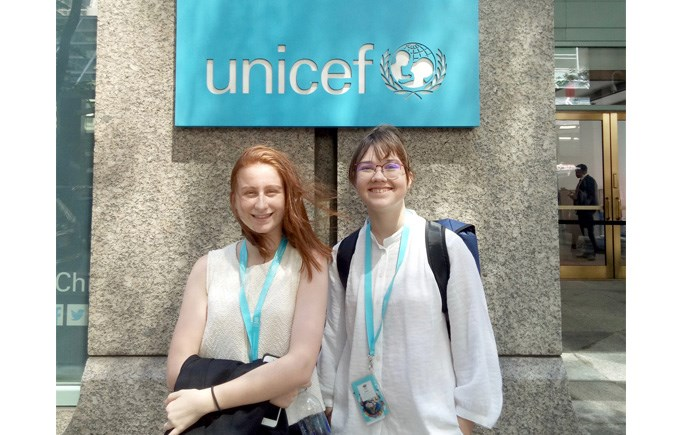 DCIS Students Sarah and Lola, Y11 at the NAE-UNICEF Student Summit