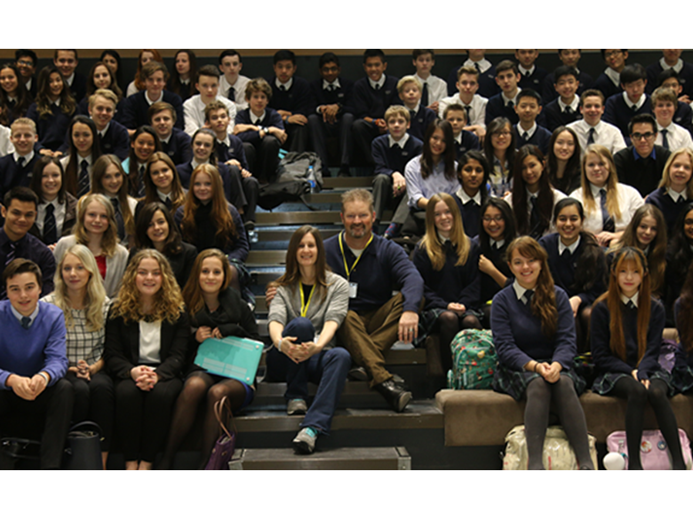 film director Leah Warshawski and editor Todd Soliday with students at the British International School Shanghai, Puxi