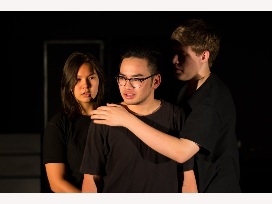 One student put his hand on the other's shoulder in Year 12 Studio Performance