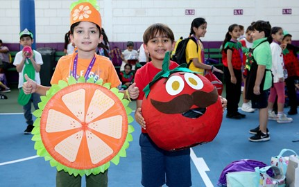 Students dressed as vegetables