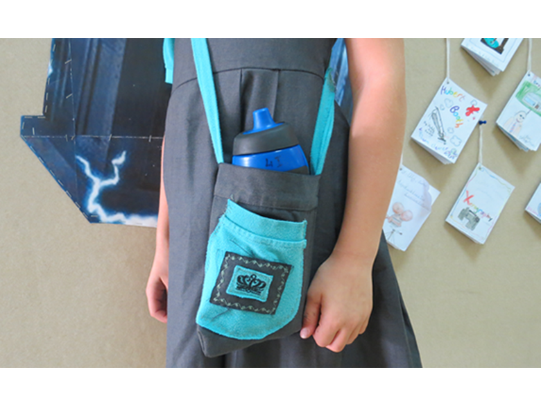 Luna, a Year 4 student from the British International School Shanghai, Puxi, made her own water bottle bag from her old school uniform.