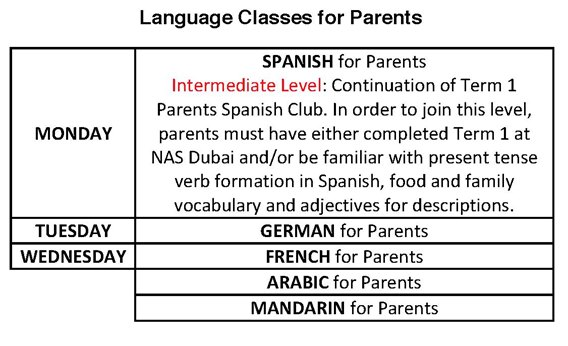 Schedule of Language Classes for Parents