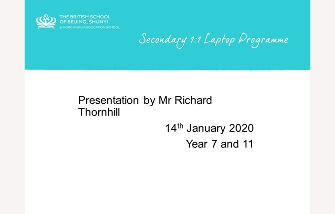 Yr7 and 11 Laptop Presentation 14 Jan 2020