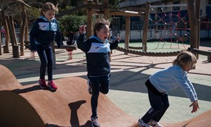 playground kids playing jumping waves february 2020