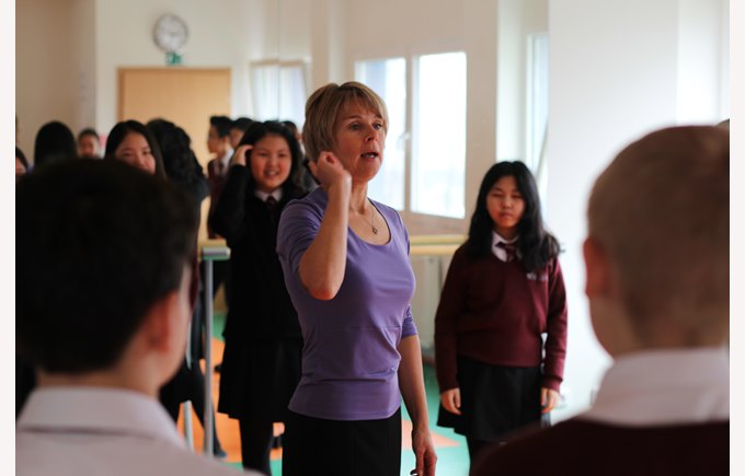 Teacher at the drama lesson
