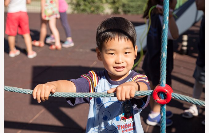 A primary school boy playing on the climbing frame in the playground