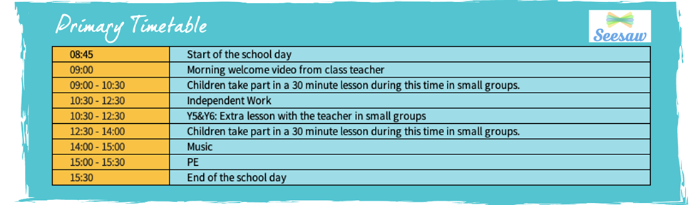 ISM Virtual School Experience Primary Timetable